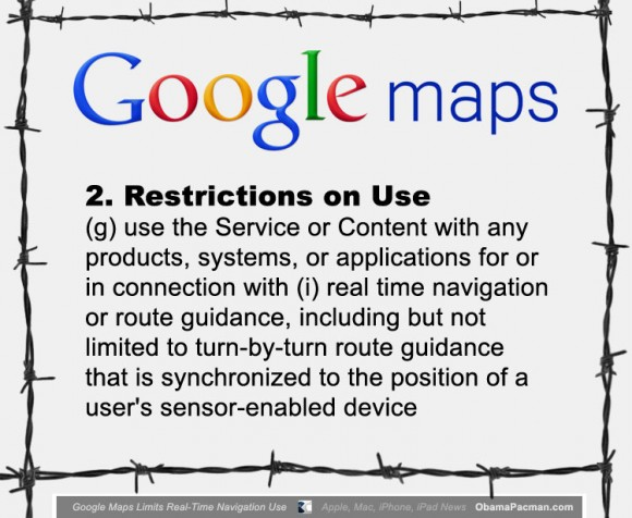 Google open Maps restrictions