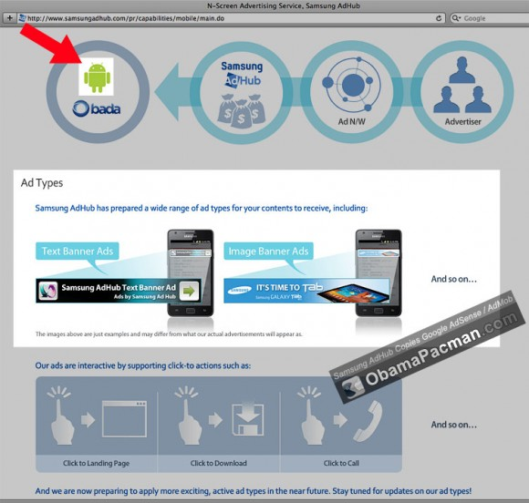Samsung copies Google AdSense AdMob Advertising Service