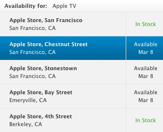 Apple TV March 8 2012 availability San Francisco Bay Area