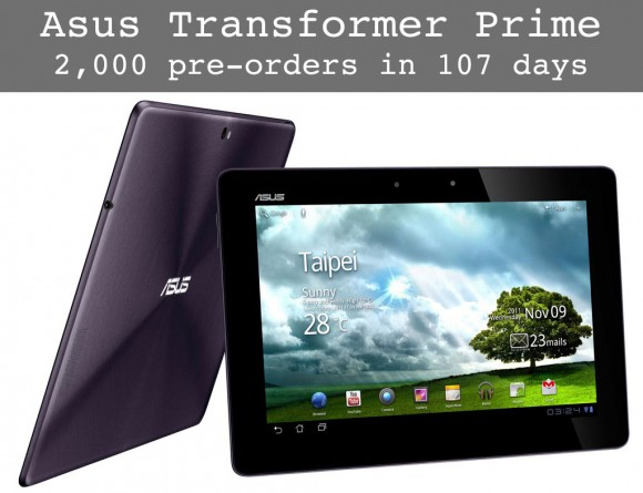 Asus Eee Pad Transformer Prime Android Tablet Sales