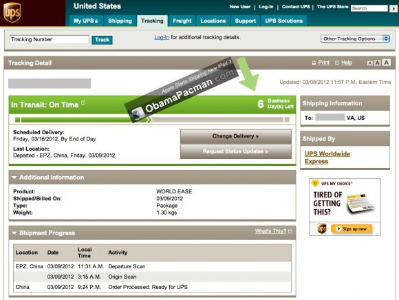 New 2012 iPad shipped from China UPS tracking