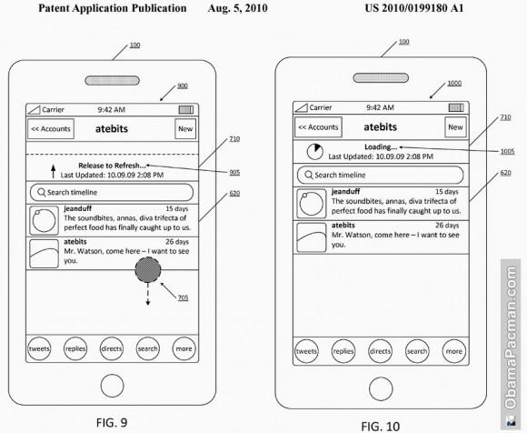 USPTO Patent 20100199180 Twitter Pull Refresh