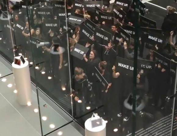 Samsung fake protestors black sheep