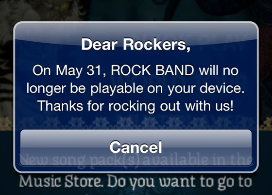 Rock Band iPhone termination