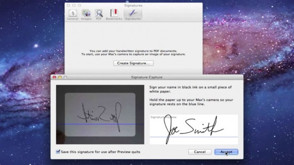 Use FaceTime camera to create custom signature on Mac