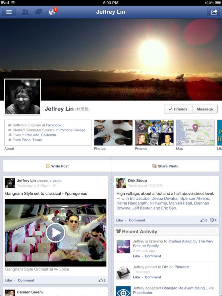 Facebook for tablet