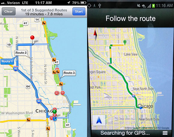 Iphone 5 maps turn by turn navigation vs android car gps apple maps vs google maps gumiabroncs