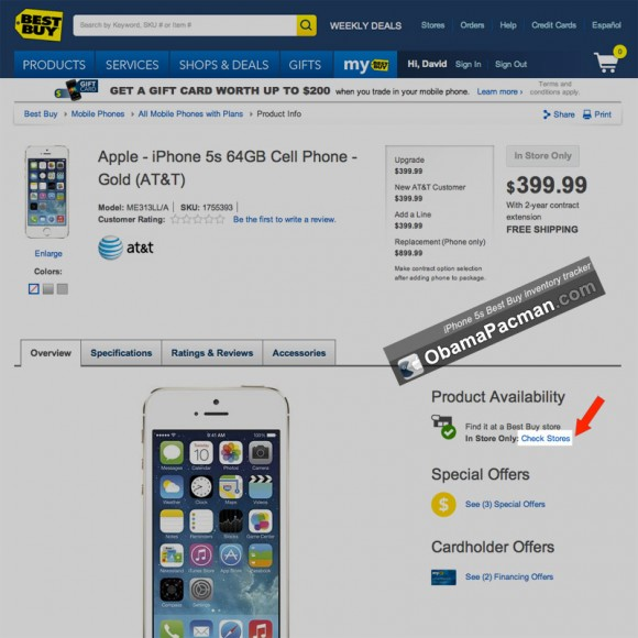 Gold iPhone 5s Best Buy product availability