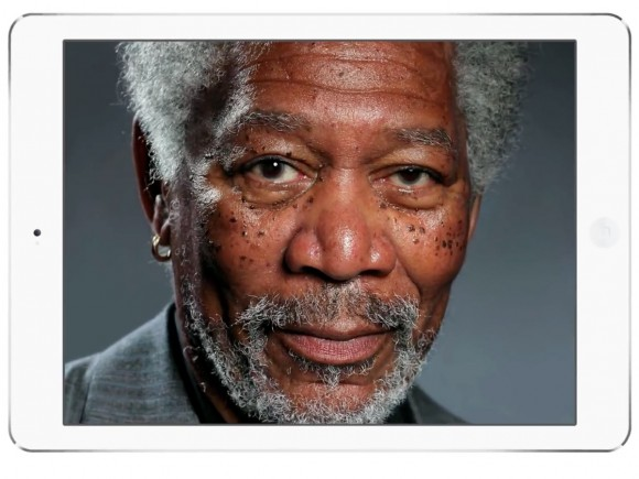 Morgan Freeman iPad painting by Kyle Lambert