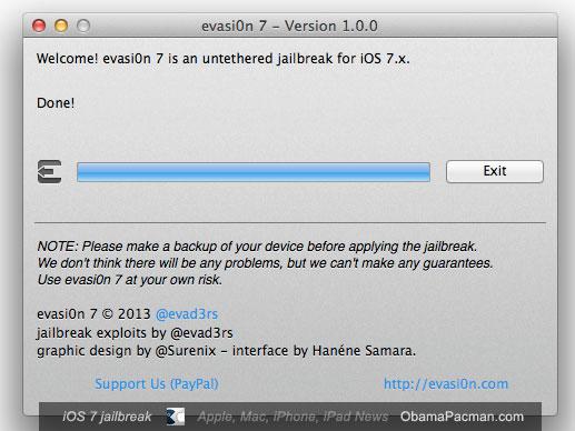 iOS 7 jailbreak evasi0n complete